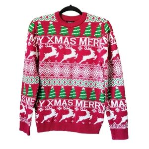 Forever 21 Men Red Reindeer Christmas Sweater XS